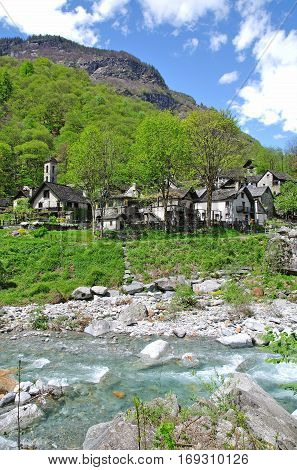 traditional Village of Foroglio in Val Bavona,Ticino Canton,Switzerland