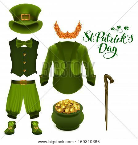 Set of accessories for St. Patricks Day. Green suit, hat, pot of gold, red beard, boots, pants, clover. Isolated on white vector illustration