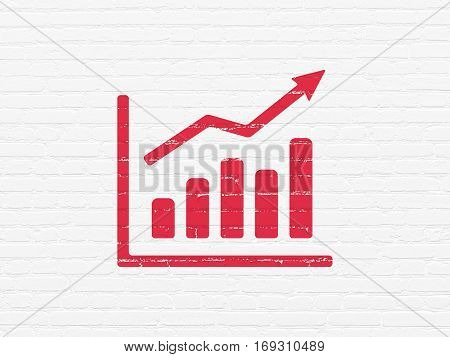 News concept: Painted red Growth Graph icon on White Brick wall background