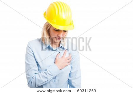 Portrait Female Engineer Having A Heart Attack