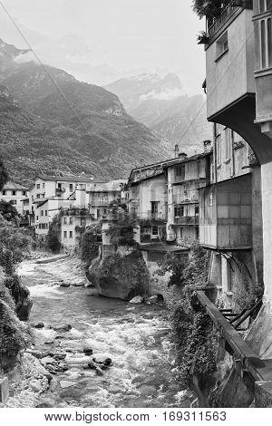 Chiavenna (Sondrio Lombardy Italy): view from the bridge. Black and white