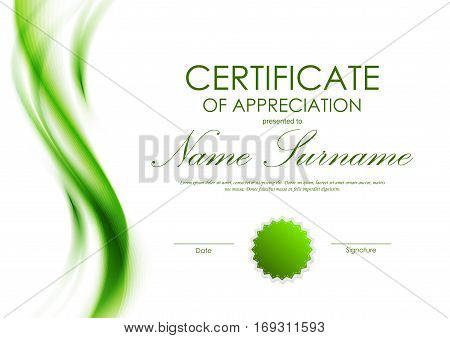 Certificate appreciation template vector photo bigstock certificate of appreciation template with green dynamic soft transparent wavy background and seal vector illustration create a lightbox yadclub Image collections