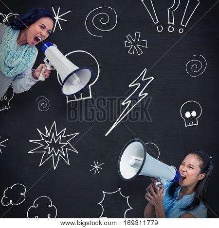 Businesswoman shouting into a megaphone against blackboard