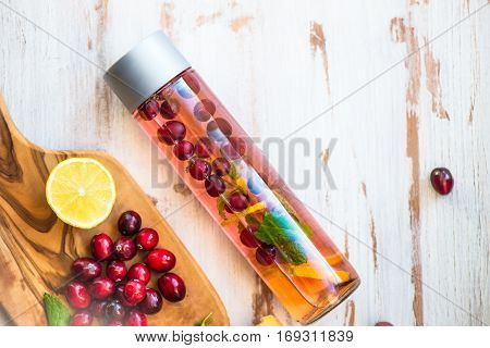 Detox Infused Water With Lemon, Cranberries, Ginger And Mint
