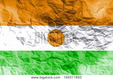 Niger national flag 3D illustration symbol. Niger flag