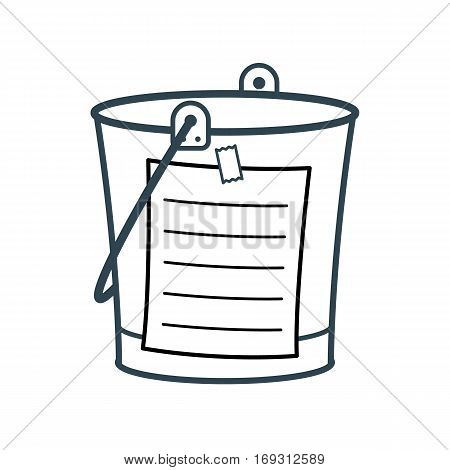 Bucket List cartoon concept with a metal pail and adhering blank list vector