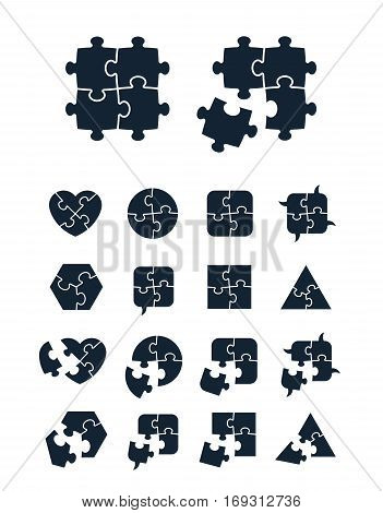 Jigsaw puzzle icons collection - complete and incomplete vector illustration editable for your design