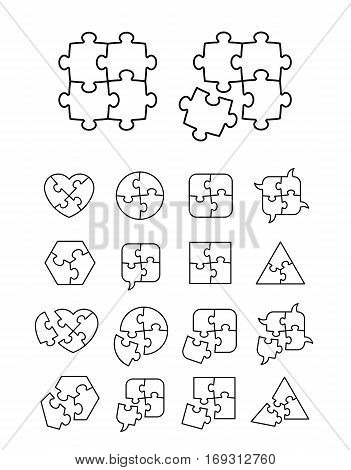 Puzzle icons set - complete and incomplete vector illustration editable for your design