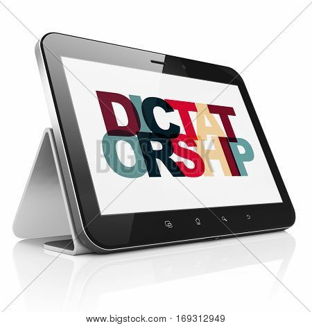 Politics concept: Tablet Computer with Painted multicolor text Dictatorship on display, 3D rendering