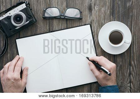 Blank Notebook On A Hipster Desktop