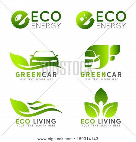 Green ECO logo with e letter leaf and car vector set design