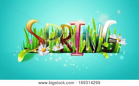 Spring word. Letters made with camomile flowers and green grass on blue background. Floral banner. Vector illustration