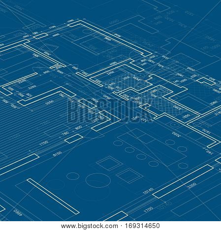 Blueprint Vector Architectural drawing on blue background.