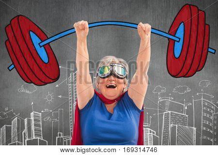 Senior woman pretending to be a superhero against hand drawn city plan