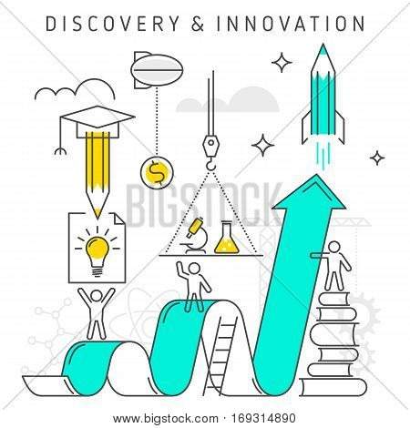 Vector flat line innovation concept illustration depict process of discovery and innovation technology ideas knowledge investing time money to get success. Growth chart represent increase profit.