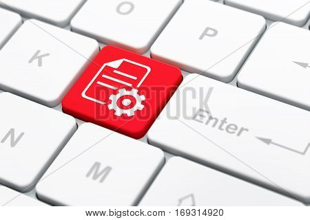 Programming concept: computer keyboard with Gear icon on enter button background, selected focus, 3D rendering