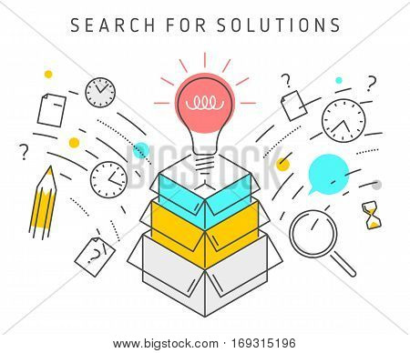 Vector flat line solution concept illustration represent process of solving a problem. Solution vector conceptual image depict searching for solutions ideas analysis strategy and thinking.