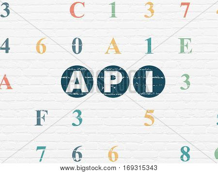 Programming concept: Painted blue text Api on White Brick wall background with Hexadecimal Code