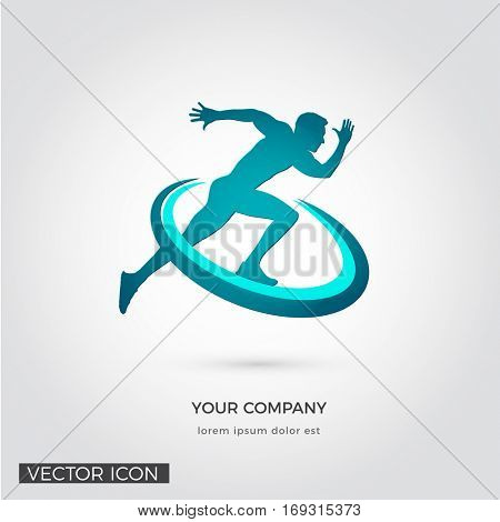 MAN RUNNING SILHOUETTE, LOGO ICON