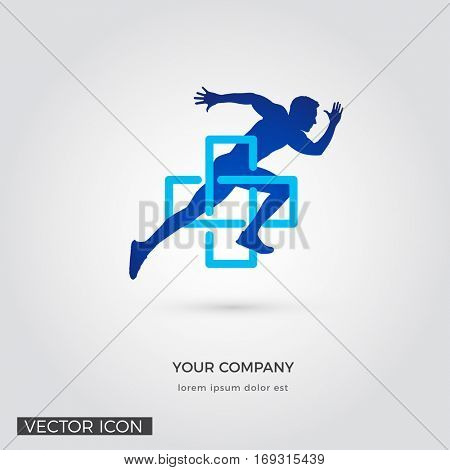 MAN RUNNING IN CROSS SYMBOL SILHOUETTE, LOGO / ICON