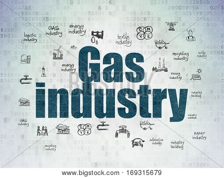 Manufacuring concept: Painted blue text Gas Industry on Digital Data Paper background with  Hand Drawn Industry Icons