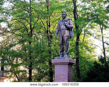 NOVOROSSIYSK, RUSSIA - August 3, 2016: A monument to Leonid Brezhnev (1906-1982). General Secretary of the CPSU (1966-1982). Closeup.  Novorossiysk, Russia