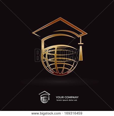 GOLD GLOBE WITH GRADUATION HAT