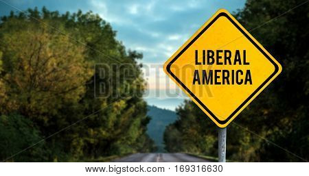 liberal america against open road background