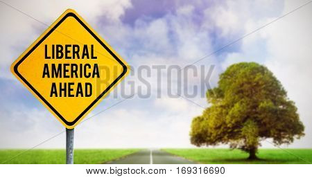 liberal america ahead against road leading out to the horizon