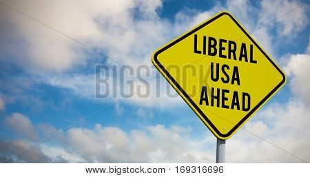 liberal usa ahead against green grass under blue sky