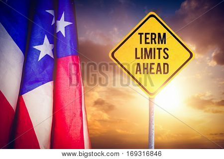 Term limits ahead against composite image of creased us flag