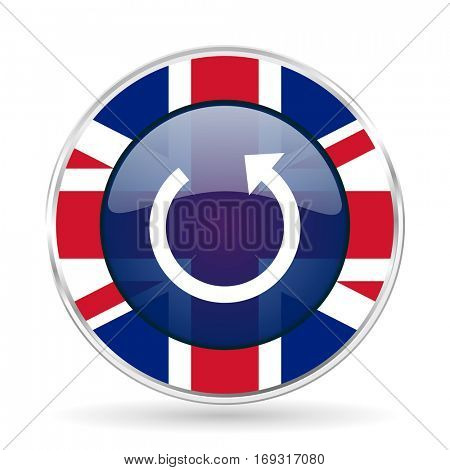 rotate british design icon - round silver metallic border button with Great Britain flag