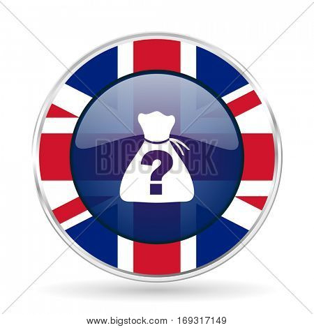 riddle british design icon - round silver metallic border button with Great Britain flag