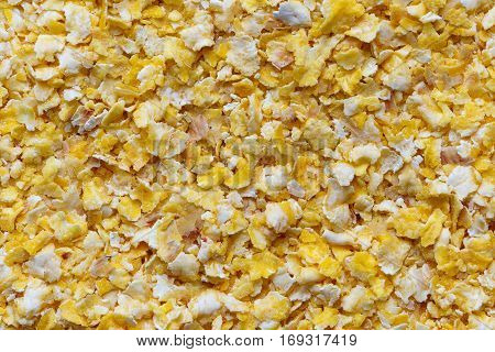 Background Of Dry Flaked Corn From Above.
