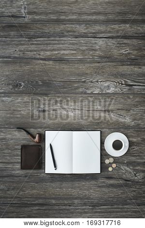 Notebook On A Vintage Desktop