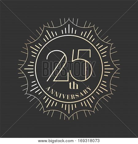 25 years anniversary vector icon logo. Graphic design element for 25th anniversary birthday card