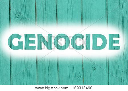 Genocide Words Print On The Wooden Plate