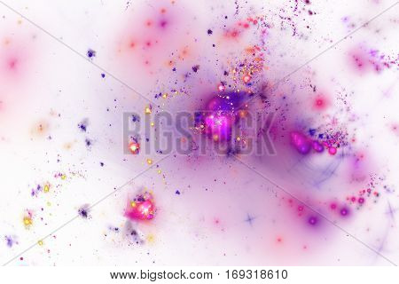 Fiery Splash. Abstract Glowing Shapes On White Background. Fantasy Fractal Design In Bright Pink, Pu