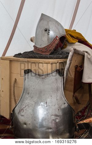 Silver and Metallic Knight Helmet Shield and Armour Medieval Theme