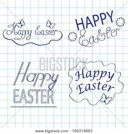 Happy Easter on a writingbook leaf, a design element