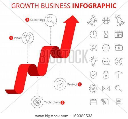 Vector flat line infographic elements. Upward red arrow and icons represent process of increase business. Vector illustration of growth arrow and business icon set isolated on white background.
