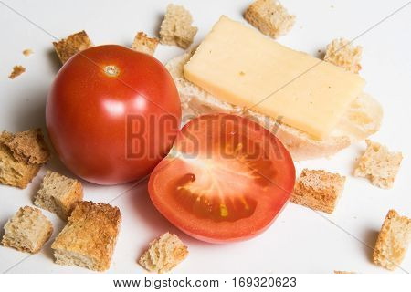 One And Half Red Fresh Tomato And Healthy Sandwich With Cheeze