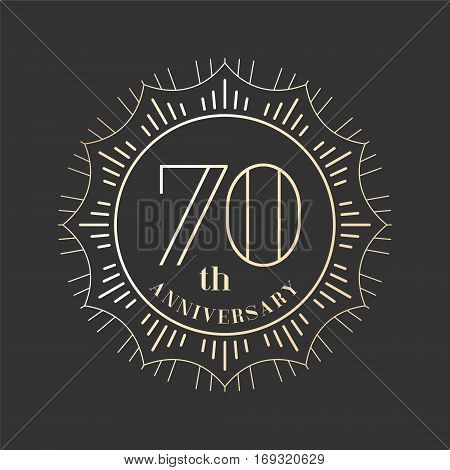 70 years anniversary vector icon logo. Graphic design element for 70th anniversary birthday card