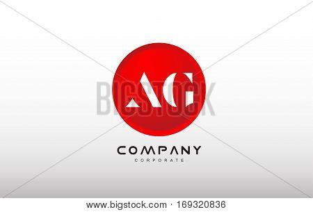 AG letter alphabet dot circle red simple flat technology modern creative vector logo icon sign design template