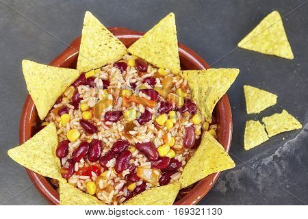 Chili Con Carne In A Bowl With Tortilla Chips, Top View