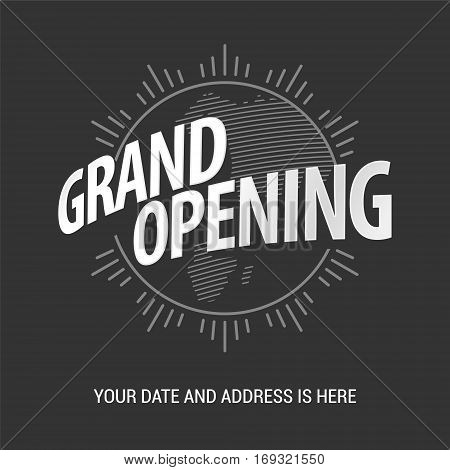 Grand opening vector illustration. Nonstandard design element with lettering and sun for opening ceremony can be used as banner or poster