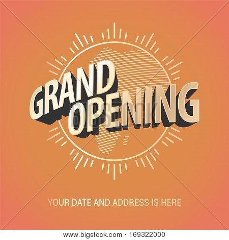 Grand opening vector banner. Nonstandard design element with gold color lettering and graphic sun for opening ceremony can be used as background
