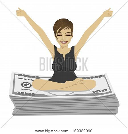 Young businesswoman with arms up celebrating her success sitting on dollar bills stack over white background