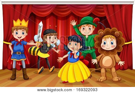 Five kids in different costumes on stage illustration