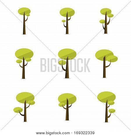 Set of tree vector flat collection stock